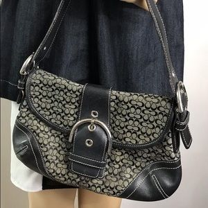 Coach Small Handbag Jacquard Fabric Shoulder Bag